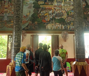 Admiring the paintings in temple