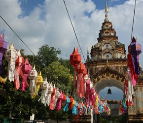Lanterns decorating temple in Chiang Mai