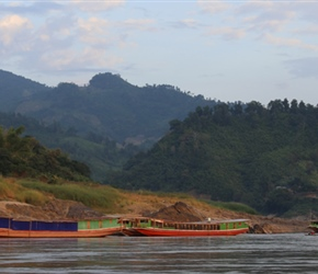River boats on the Mekong in evening light