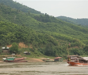 Typical boats on the Mekong