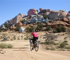 Carole heads towards Painted Rocks