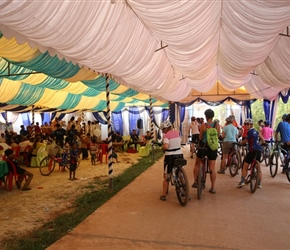 Cycling through a wedding tent in Siem Reap