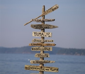 Geographical Signpost on North Lopez shoreline