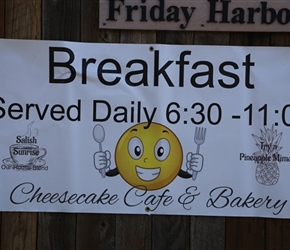 Cheesecake cafe Breakfast sign