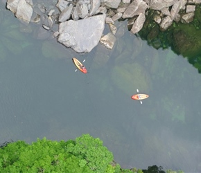 Kayaks from bridge where we had coffee