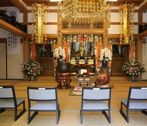 Inside temple at Yufuin