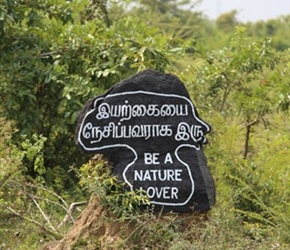 Be a nature lover, roadside sign