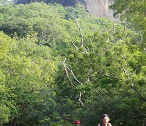 Janet Ellis with Sigiriya looming behind