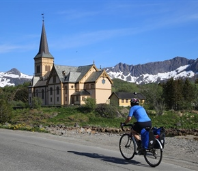 Linda Tomalin passes church in Kabelvag
