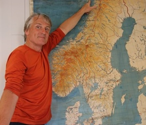 Neil showing location of Lofoten