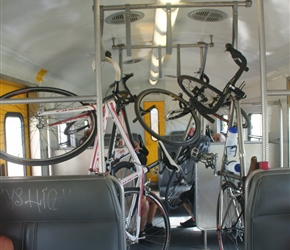 Bicycles hanging in first class on the train from Cape Town to Simon's Town