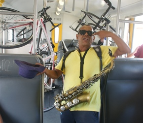 Busker on the train