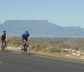 Roger, Bruce, Denis and Cherry near Blouberg with Table Mountain behind