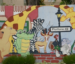 Giraffe mural at Platform 62