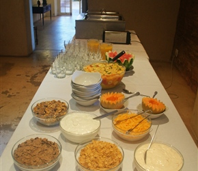 Breakfast offerings at Barrydale Hotel