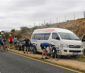 Morning stop at 40km. Yes in the middle of nowhere but with a back up vehicle with snacks...