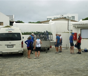 Loading the bikes at Arniston for a transfer to Cape Aguilhas