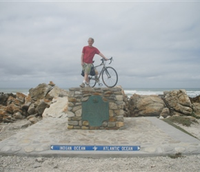 Neil at Cape Agulhas where the Pacific Ocean meets the Atlantic Ocean