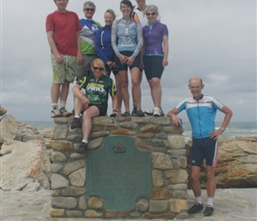 Neil, Steve, Shery, Beth, Lynne, Tim, Chery and Rob at Cape Aguilas where the Atlantic meets the Pacific