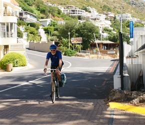 Roger Mannings arrives at Gordons Bay