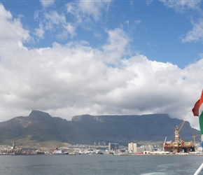 Table Mountain as we depart the port for Robben Island