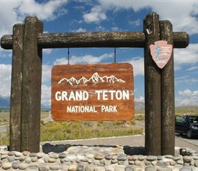 Official Grand Teton entrance sign. National Park Logo top right
