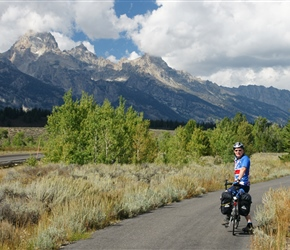 Phil and the Tetons. There was an excellent cycle path built to this point from Jackson Hole