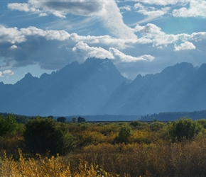 Late evening, looking back at the Tetons