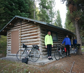 Ken, Ian and Phil having spent the night in the Colter Bay Cabins