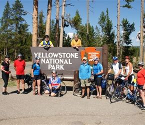 Yellowstone sign and group