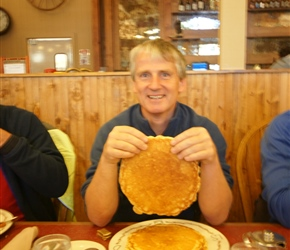 You often get quite enormous pancakes in the USA. Here Neil contemplates the size at Colter Bay