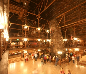 Built in 1903-1904 with local logs and stone, the Inn is considered the largest log structure in the world. The towering lobby features a massive stone fireplace and a hand-crafted clock made of copper, wood and wrought iron serving as focal points.