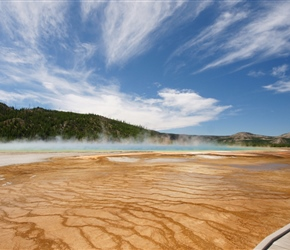 The Grand Prismatic Spring in Yellowstone National Park is the largest hot spring in the United States, and the third largest in the world, after Frying Pan Lake in New Zealand and Boiling Lake in Dominica. It is located in the Midway Geyser Basin.
