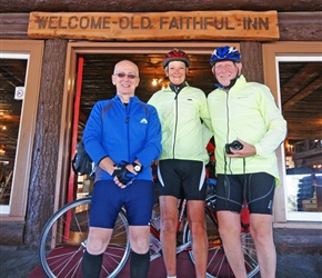 Phil, Carel and Malc outside the Old Faithful Inn