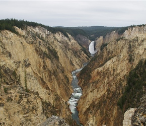 The Grand Canyon of the Yellowstone River expresses the park's complex geologic history in dramatic colors and shapes. Puffs of steam mark hydrothermal features in the canyon's walls. The Upper and Lower Falls of the Yellowstone River add to the gran