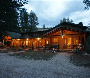 Shoshone Lodge at night