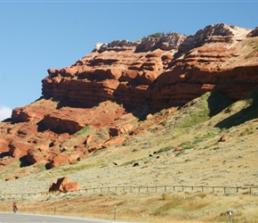 Everything is big in the USA, here Ian passes red sandstone