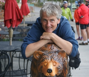 Neil and carved bear