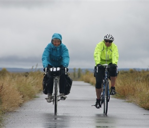 Valerie and Linda return along the cycleway