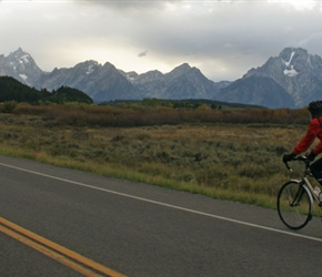 Ian heads towards the Tetons
