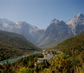 An artificial blue lake sets of the Jade Mountains