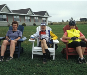 Linda, Colin and Pauline relax at L'Auberge Acadienne