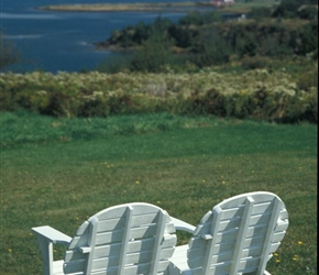 Across Lennox passage. This chair type was pretty popular in Nova Scotia and very photogenic