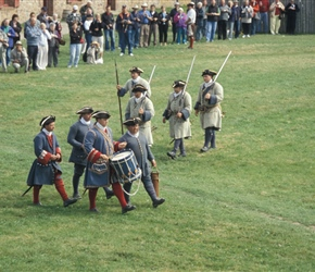 Soldiers with drums and muskets at the re-enactment