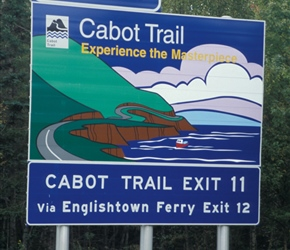 Cabot trail sign, the trail most associated with Nova Scotia
