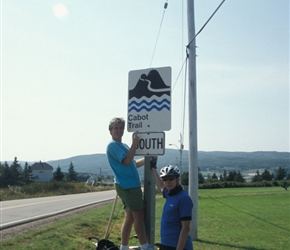 Cabot Trail Sign featuring Neil and Paul