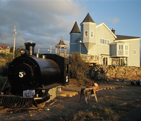 Funny what people build in their front yard, train building at Inverness