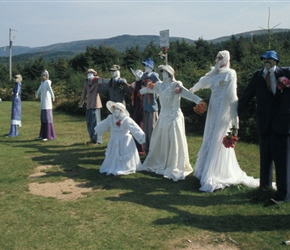 Joe's scarecrows, feature the Wedding Party