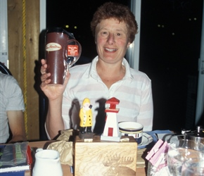 Linda wins a Tim Horton mug with the souvenir fisherman