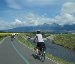 Karen Killingbeck heads along the cycle path from Poprad heading towards the High Tatras mountains